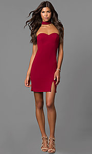 Image of short sweetheart homecoming dress with choker accent. Style: MY-4766US1C Detail Image 1