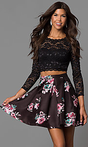 Image of lace-top print-skirt two-piece homecoming dress. Style: MY-9570PZ1P Front Image