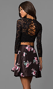 Image of lace-top print-skirt two-piece homecoming dress. Style: MY-9570PZ1P Back Image