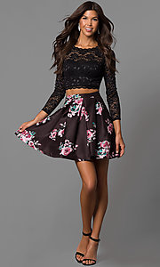 Image of lace-top print-skirt two-piece homecoming dress. Style: MY-9570PZ1P Detail Image 1