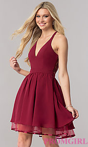 Image of short chiffon homecoming dress with lace racerback. Style: LP-24744 Detail Image 1
