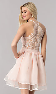 Image of short chiffon homecoming dress with lace racerback. Style: LP-24744 Front Image
