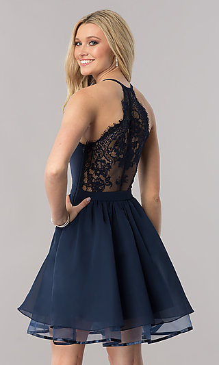 2328968079b Short Chiffon Homecoming Dress with Lace Racerback
