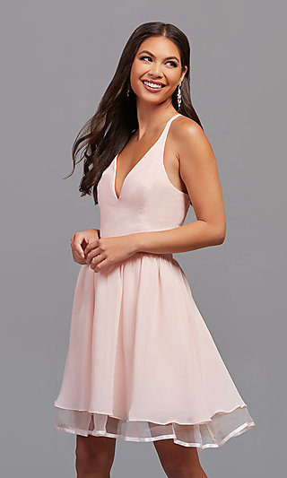 899babf847e Short Chiffon Homecoming Dress with Lace Racerback