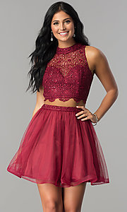 Image of burgundy red two-piece short homecoming party dress. Style: LP-97017 Front Image