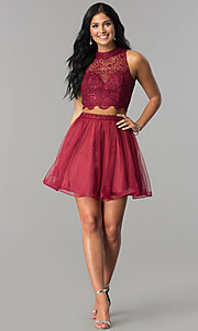 Image of burgundy red two-piece short homecoming party dress. Style: LP-97017 Detail Image 2