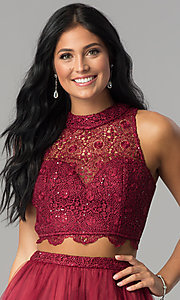Image of burgundy red two-piece short homecoming party dress. Style: LP-97017 Detail Image 1