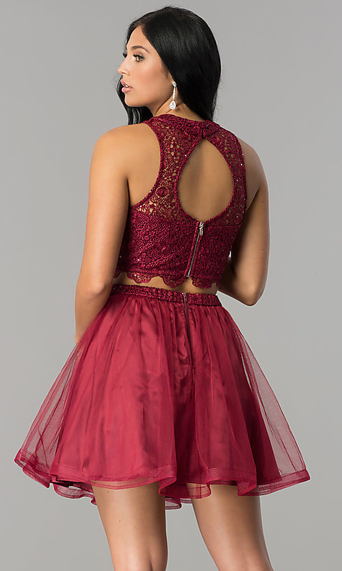 Image of burgundy red two-piece short homecoming party dress. Style: LP-97017 Back Image