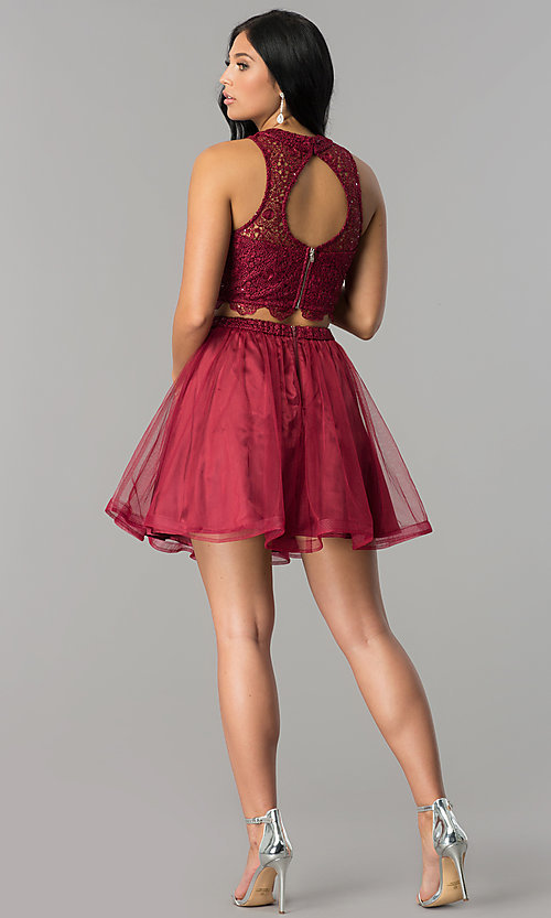 Image of burgundy red two-piece short homecoming party dress. Style: LP-97017 Detail Image 3