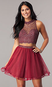 Image of two-piece short homecoming dress with glitter lace. Style: LP-97026 Front Image