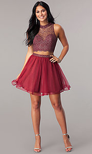 Image of two-piece short homecoming dress with glitter lace. Style: LP-97026 Detail Image 1