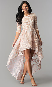 Image of ribbon-embroidered high-low party dress in blush pink. Style: LP-27188 Front Image