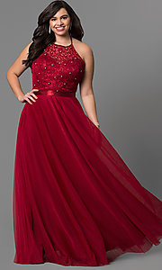 Image of plus-size long halter evening dress by Elizabeth K. Style: FB-GL1475P Front Image