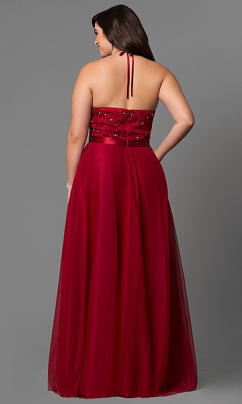 Image of plus-size long halter evening dress by Elizabeth K. Style: FB-GL1475P Back Image