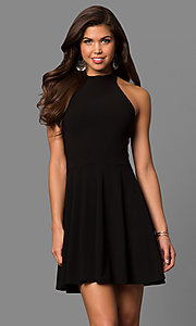 High-Neck Halter Short A-Line Black Party Dress