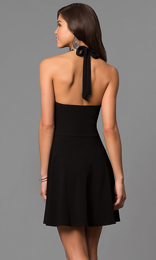 Image of high-neck halter short a-line black party dress. Style: CH-2910 Back Image