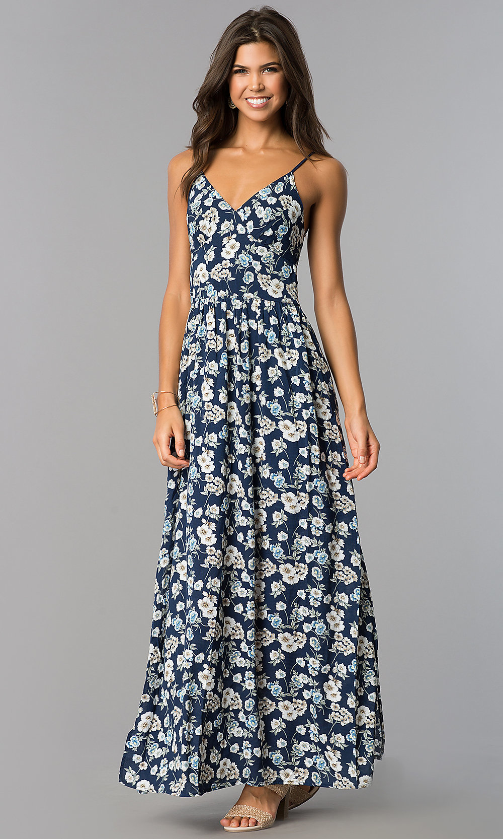 Open-Back Blue Print Casual Long Maxi Dress - PromGirl