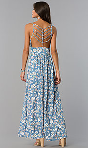 Image of long casual maxi blue dress with floral print. Style: VE-884-211505 Detail Image 3