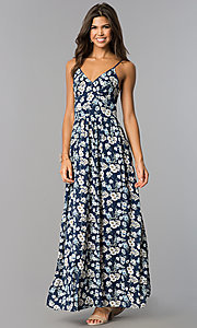 Long Casual Maxi Blue Dress with Floral Print
