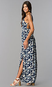 Image of long casual maxi blue dress with floral print. Style: VE-884-211505 Detail Image 1