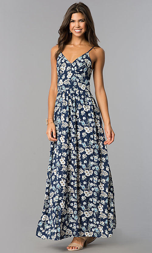 Image of long casual maxi blue dress with floral print. Style: VE-884-211505 Front Image