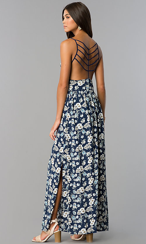 Image of long casual maxi blue dress with floral print. Style: VE-884-211505 Back Image