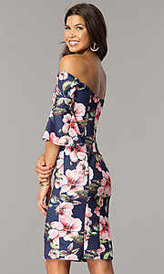 Image of wedding-guest off-the-shoulder navy dress with print. Style: MCR-2335 Back Image