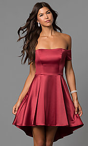 Merlot Red Off-the-Shoulder Homecoming Dress