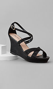 Black Open-Toe Wedge Prom Shoes