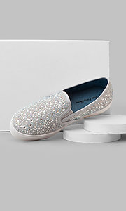 Silver Slip-On Prom Sneakers