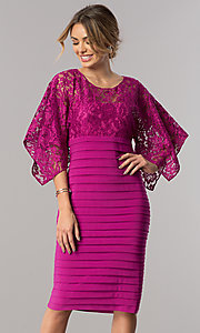 Short Wedding-Guest Dress with Handkerchief Sleeves