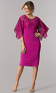 Image of short wedding-guest dress with handkerchief sleeves. Style: SD-S278531 Detail Image 1
