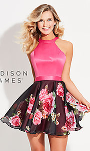 Madison James Homecoming Dress with Open T-Back