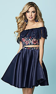 Two-Piece Hannah S Off-the-Shoulder Embroidered Homecoming Dress