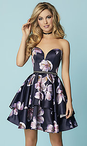 Image of print navy blue short prom dress with tiered skirt. Style: HS-27154 Front Image