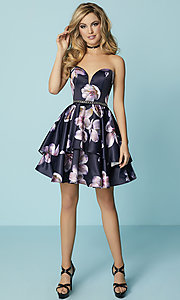 Image of print navy blue short prom dress with tiered skirt. Style: HS-27154 Detail Image 3
