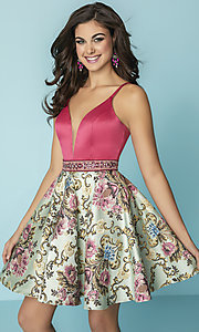 Short Floral Print Hannah S Homecoming Dress with Pockets