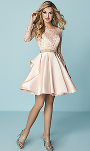 Image of mock-two-piece homecoming dress with lace sleeves. Style: HS-27167 Detail Image 1