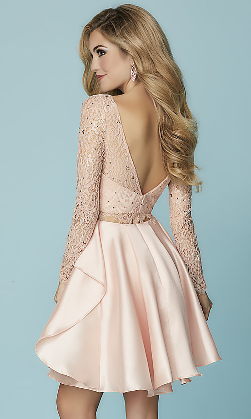 Image of mock-two-piece homecoming dress with lace sleeves. Style: HS-27167 Back Image
