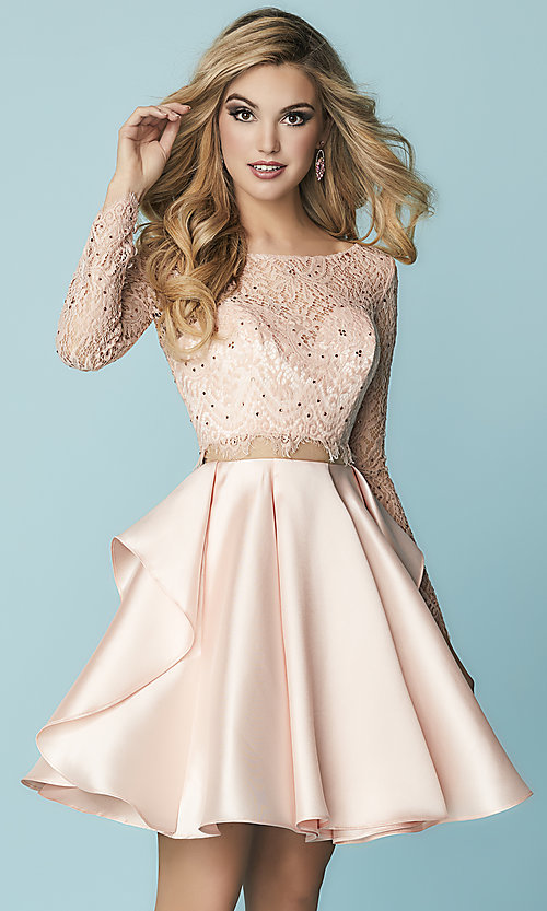 35355a6846b Image of mock-two-piece homecoming dress with lace sleeves. Style  HS