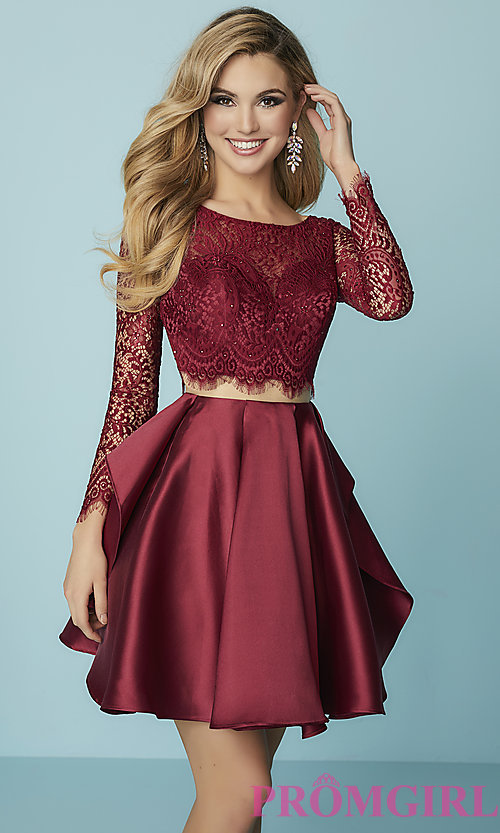 Image of mock-two-piece homecoming dress with lace sleeves. Style: HS-27167 Front Image