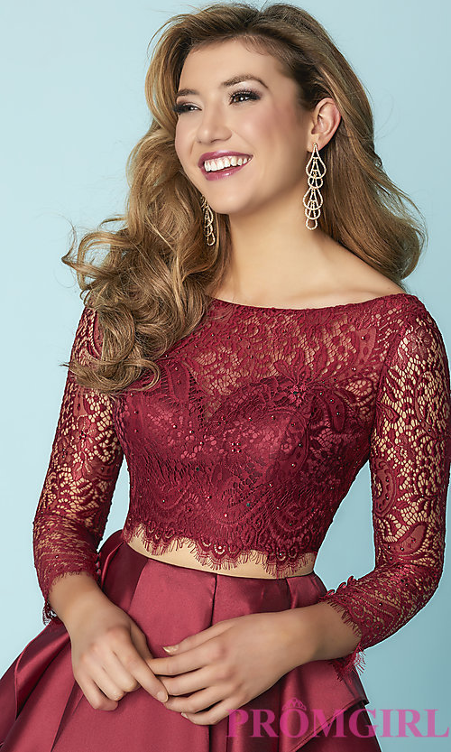 Image of mock-two-piece homecoming dress with lace sleeves. Style: HS-27167 Detail Image 2