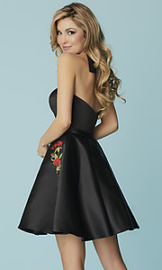 Image of short strapless black prom dress with pockets. Style: HS-27178 Back Image