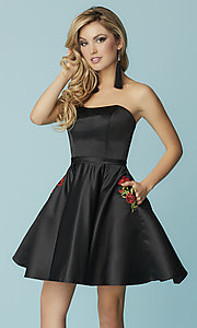 Image of short strapless black prom dress with pockets. Style: HS-27178 Front Image