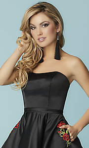 Image of short strapless black prom dress with pockets. Style: HS-27178 Detail Image 1