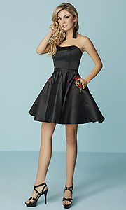 Image of short strapless black prom dress with pockets. Style: HS-27178 Detail Image 2