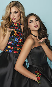 Image of short strapless black prom dress with pockets. Style: HS-27178 Detail Image 3