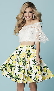 Short Two-Piece Hannah S Homecoming Dress with Lace Top and Printed Skirt