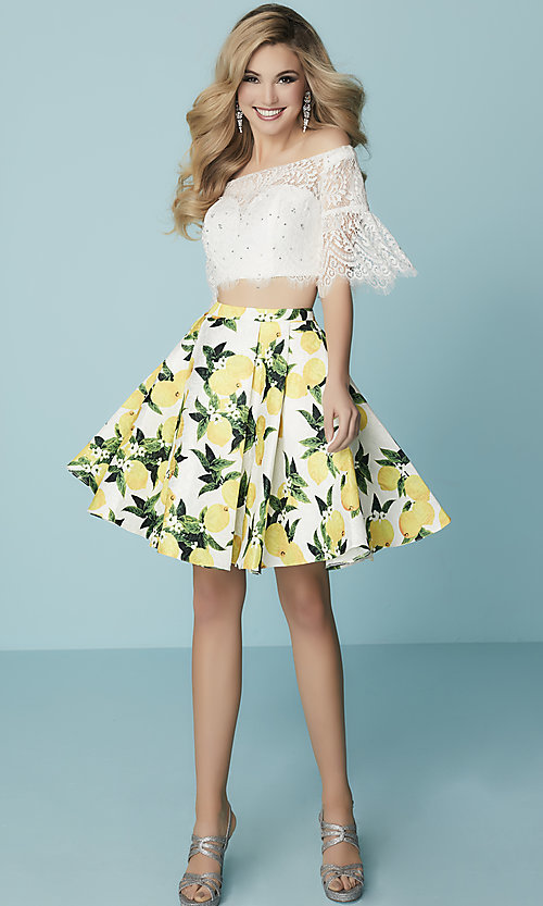 Image of short two-piece Hannah S homecoming dress with lace. Style: HS-27188 Detail Image 2