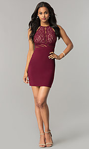 Image of lace-bodice short wedding-guest dress with sheer back. Style: MO-12293 Detail Image 1